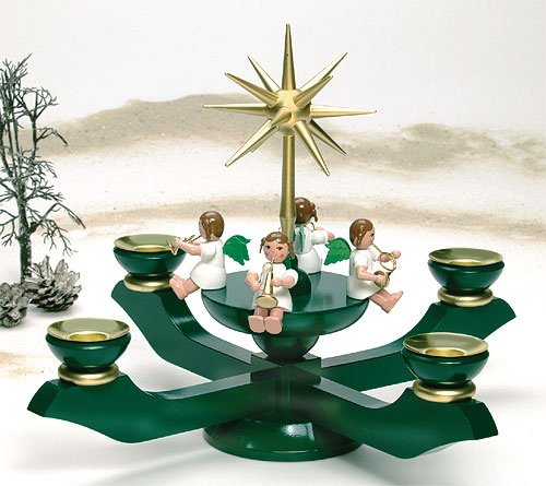 Adventleuchter mit 4 Engeln, grün