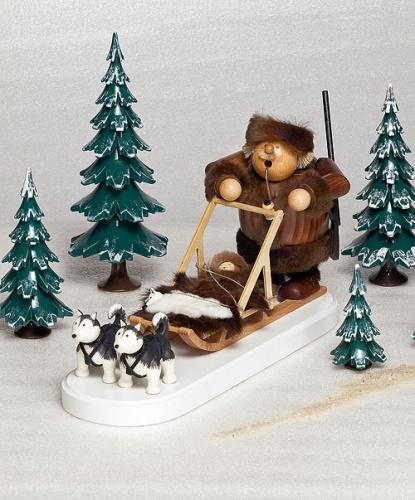 Räuchermann Eskimo (Trapper) mit Hundeschlitten