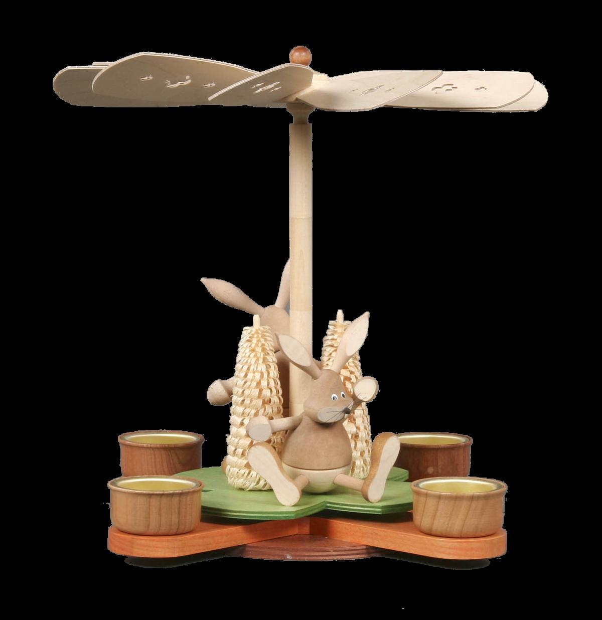 Osterpyramide Glücksklee mit Hasen, natur