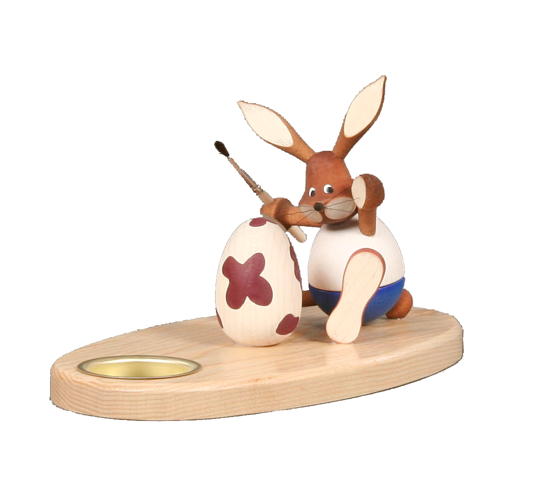 Tealight Holder Bunny Painter sitting