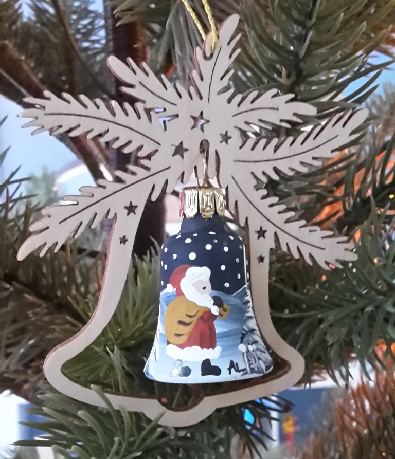 Tree decoration glass bell, Santa Claus