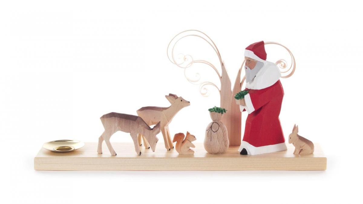Kerzenhalter Weihnachtsmann mit Waldtieren **Neu 2016**