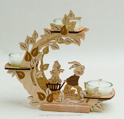 Tealight Holder Flower Wreath Bunny with Handcart