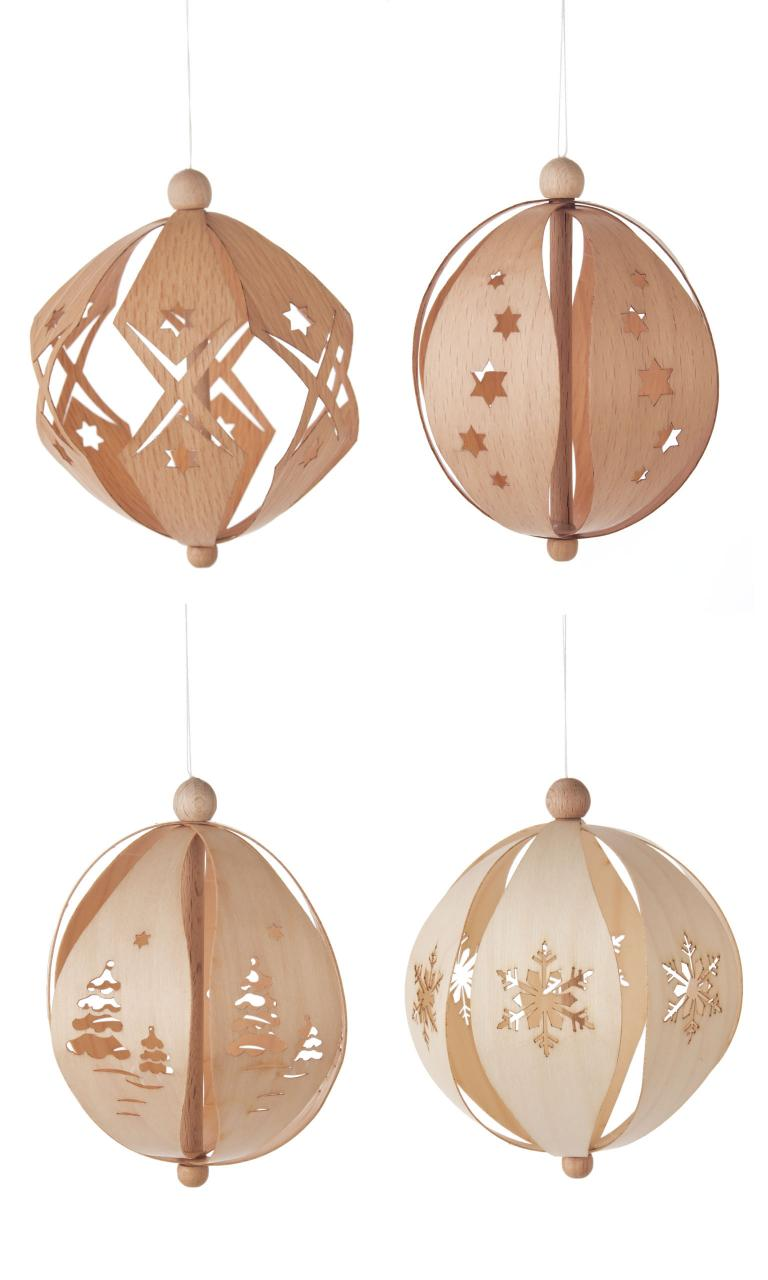 Tree decoration 4 balls 3D wood
