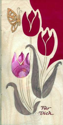 Greeting card gift of money tulips