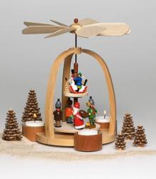 Pyramide Weihnachtsmann farbig für Teelichter