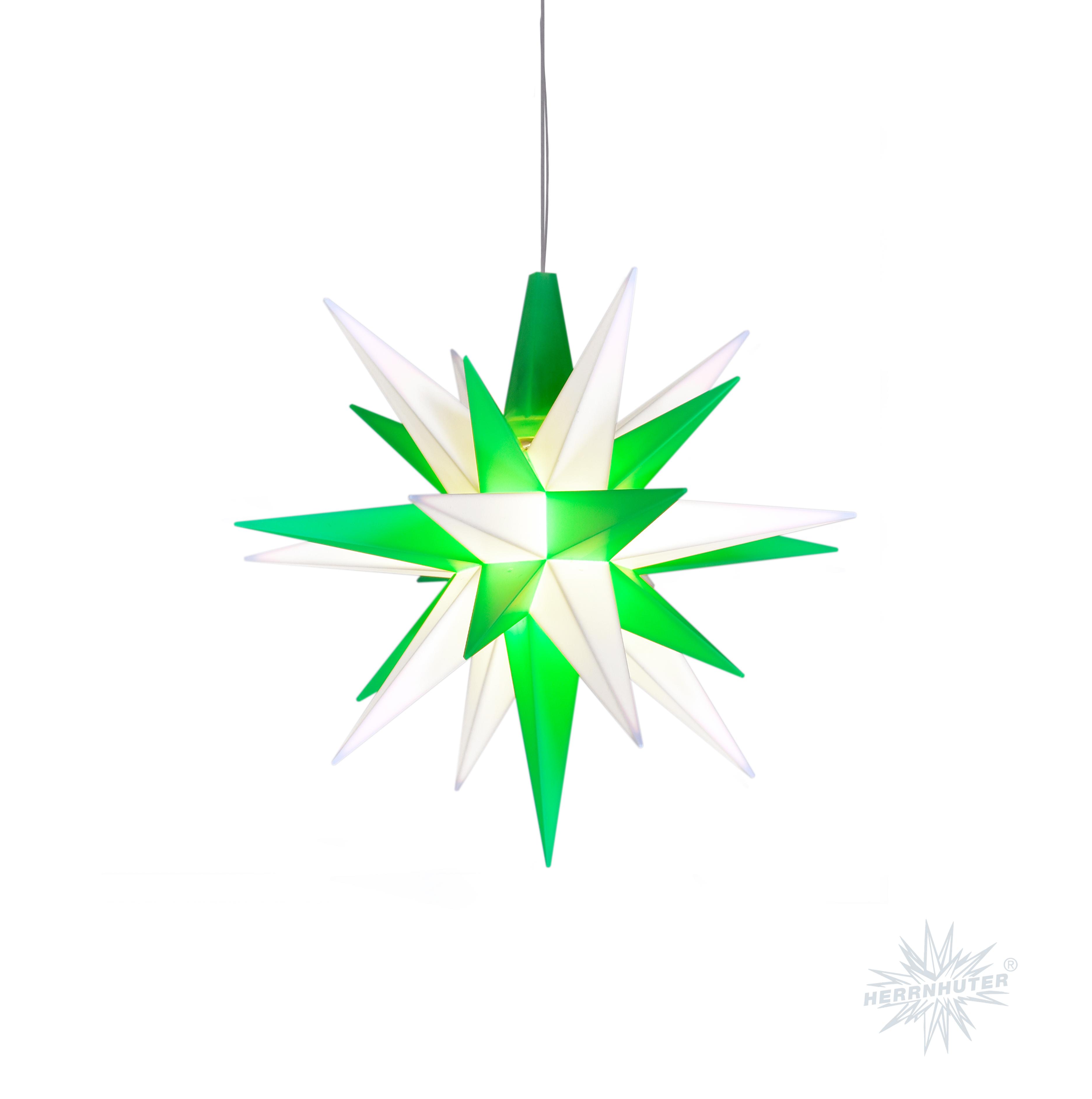Herrnhuter plastic star 13cm green/white (incl. LED)