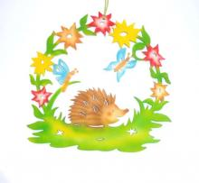 Window Picture Hedgehog with Butterfly, colored