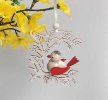 Behang Vogel im Zweig, rot