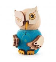 Wooden Figure Mini-Owl Blue