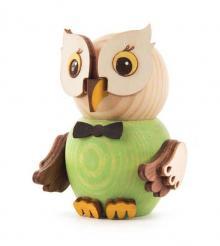 Wooden Figure Mini-Owl Green