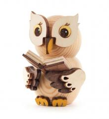 Wooden Figure Mini-Owl with Book