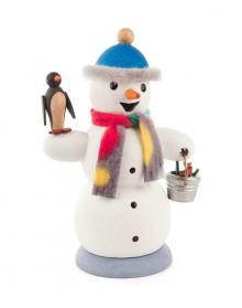 Smoker snowman with penguin