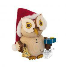 Wooden figure mini owl Santa Claus