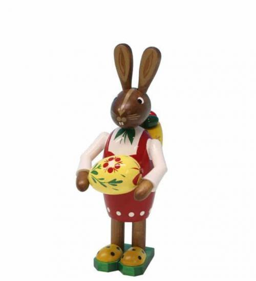 Easter bunny woman with basket and big easter egg