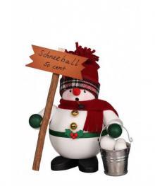 Räuchermann Schneemann mit Schneebällen