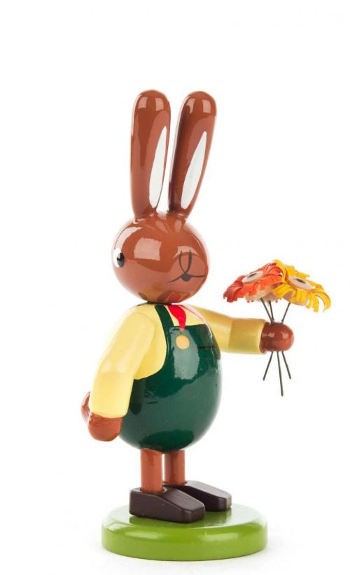 Easter bunny man with bunch of flowers, small