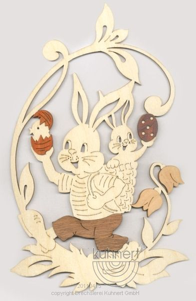 Window picture  easter rabbit and  rabbit baby, with precious wood funer