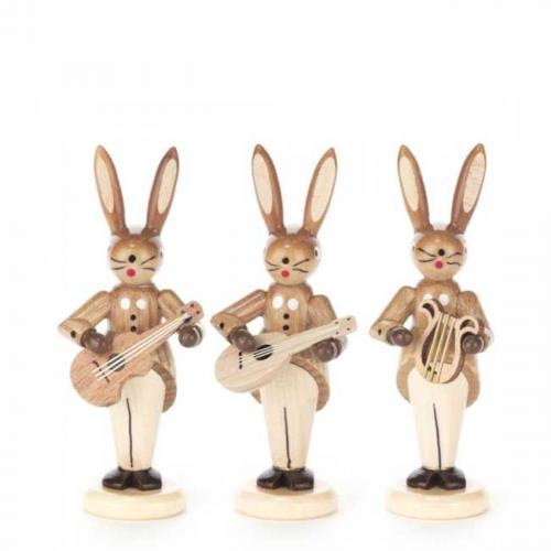 Rabbit trio with guitar, mandolin and lyre, natural