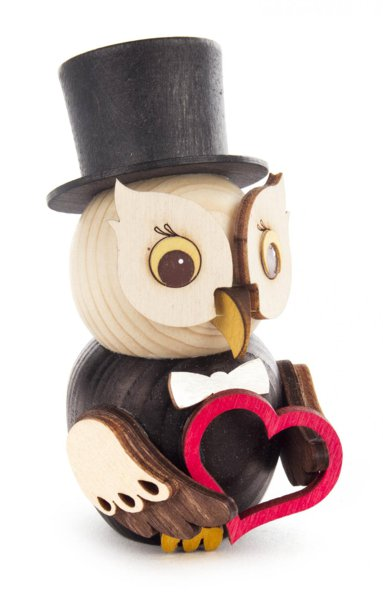 Wooden figure mini owl groom