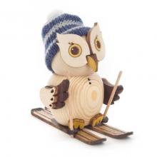 Wooden figure mini owl gwith ski