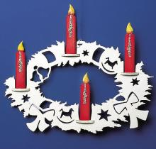 Window picture Advent wreath with 4 colored candles