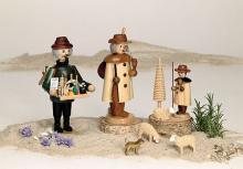 Smoker shepherd with herd