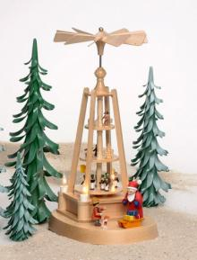 Christmas pyramid with miniature figures, electrically