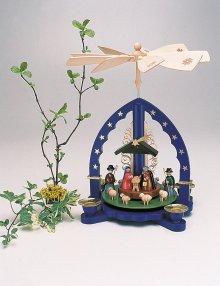 Pyramid nativity scene with shepherds, blue