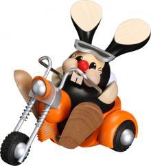 Kugelräucherfigur Osterhase fährt Trike