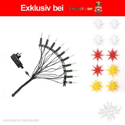 Herrnhuter Sternenkette MIX, weiß, rot, gelb