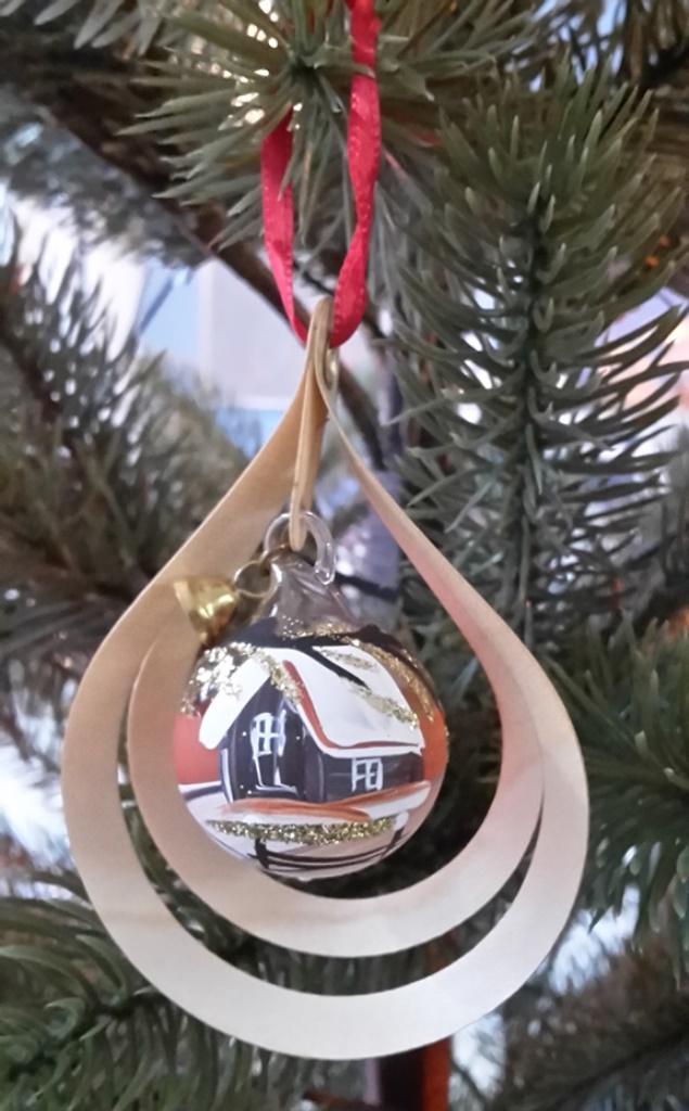Tree decoration glassball Goldrain, 3D