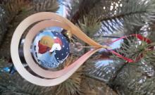 Tree decoration glassball Santa Claus, 3D