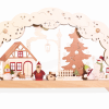 Candle arch with colorful snowmen and christmasmen