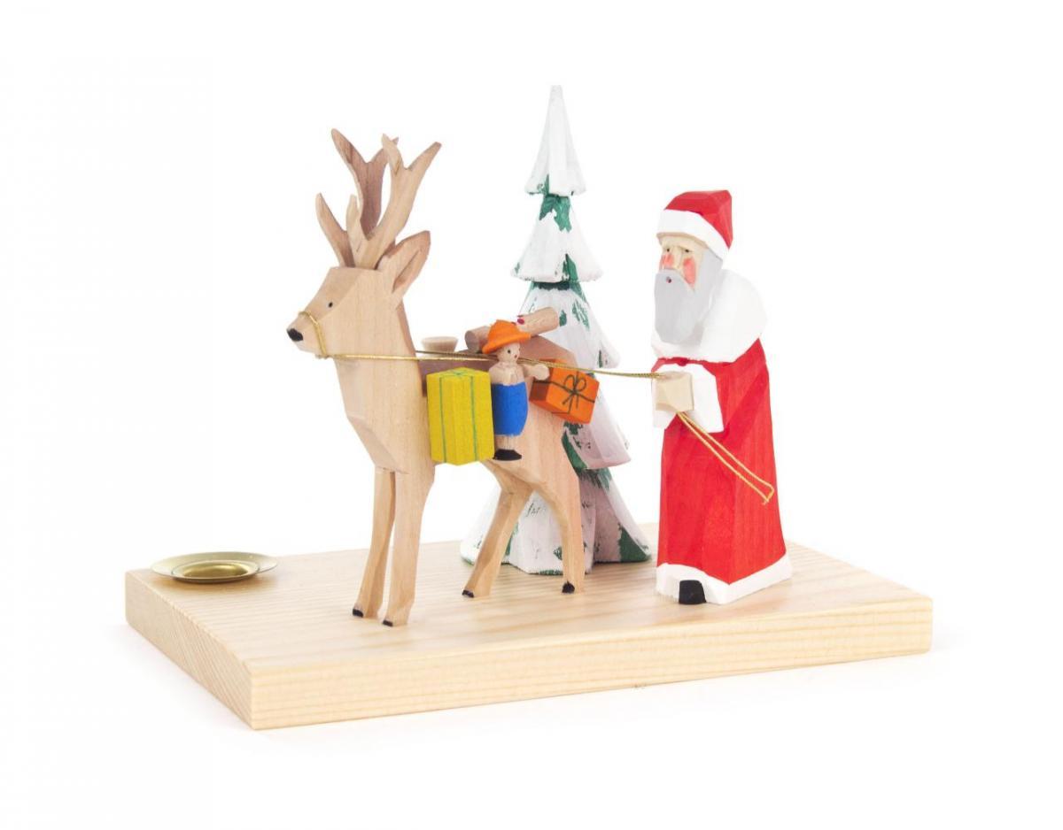 Kerzenhalter Weihnachtsmann mit Hirsch **Neu 2016**