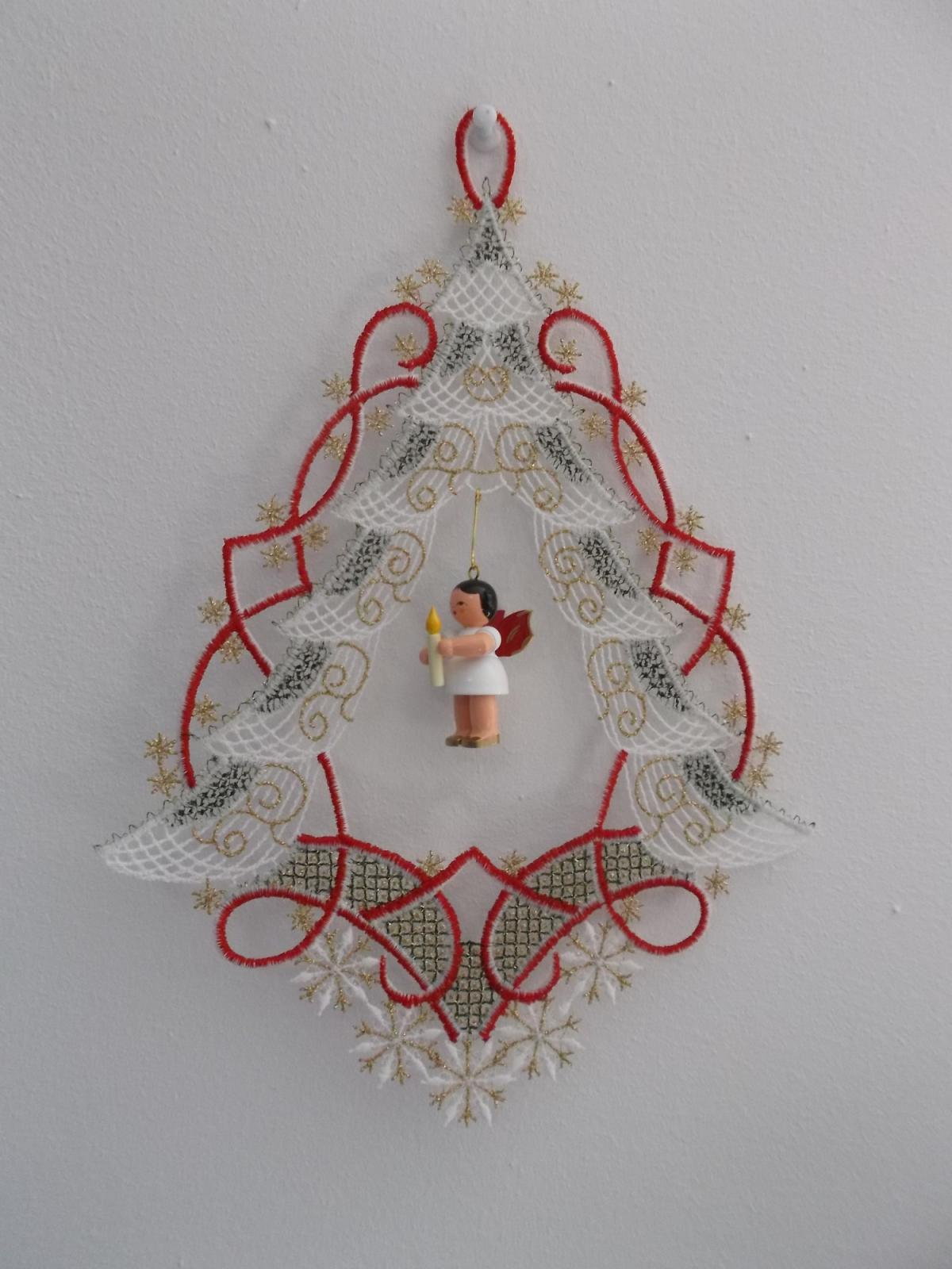 Engel Tannenbaum.Window Picture Fir Tree With Angel Plauener Lace