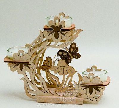 Teelichthalter, Blütenkranz mit Schmetterlingen **Neu 2016**