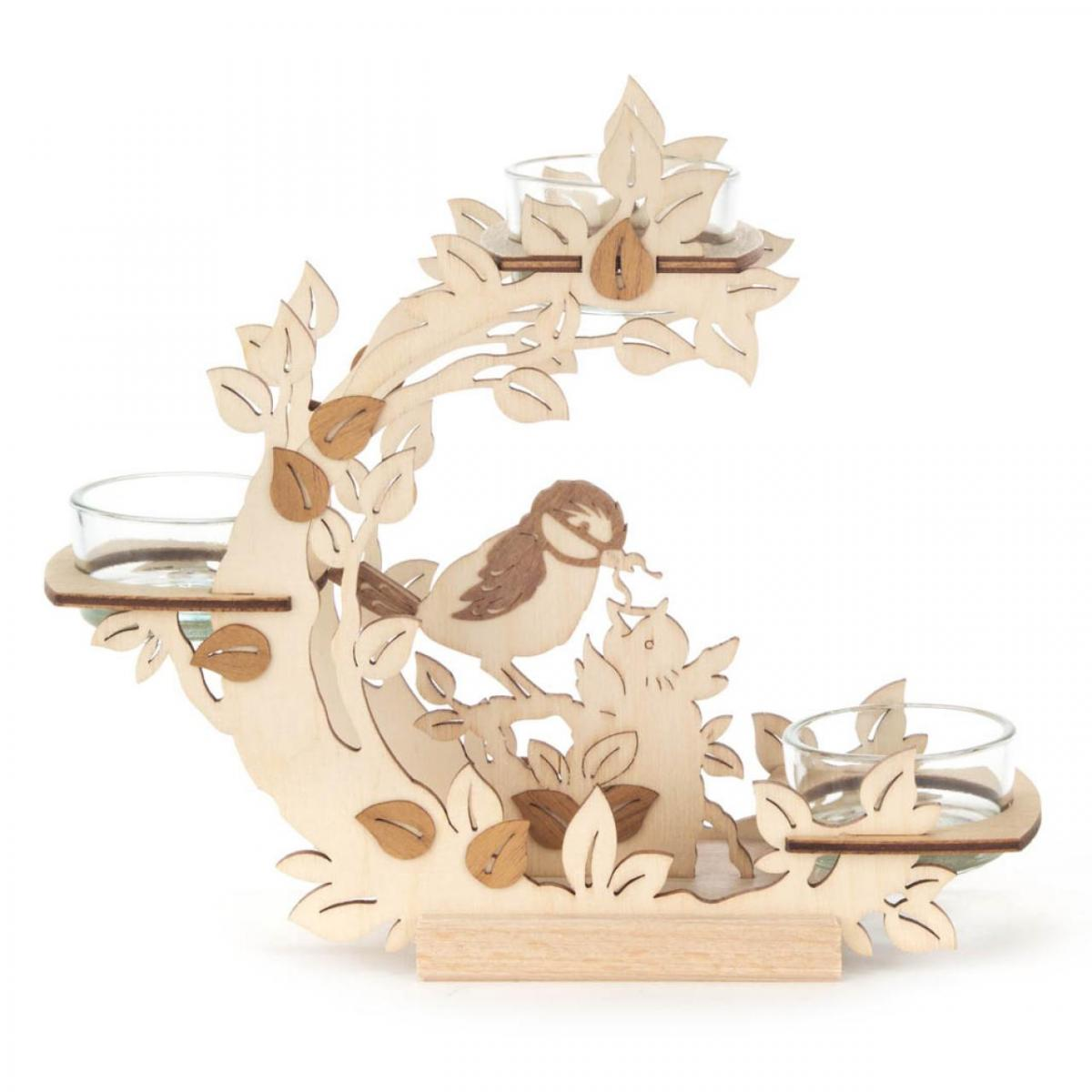 Candle Holder Flower Wreath with Birds