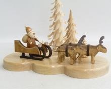 Tealight holder Santa Claus with reindeer, nature