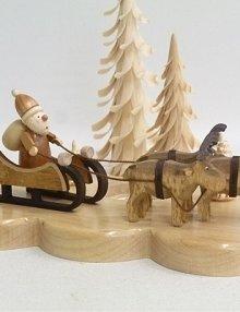 Tealight holder Santa Claus with reindeer, nature