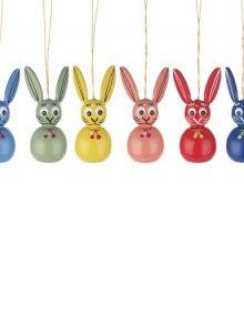 Hanging easter bunnies (6 pieces)