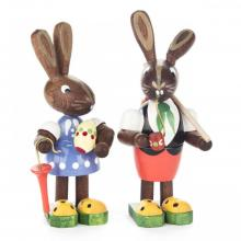Easter bunny couple With egg, umbrella and whistle