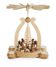 Weihnachtspyramide Krippe natur für Teelichter