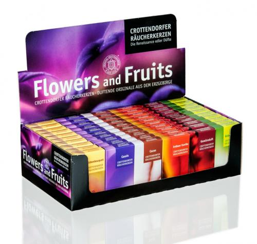Crottendorfer incense candles, flowers and fruits