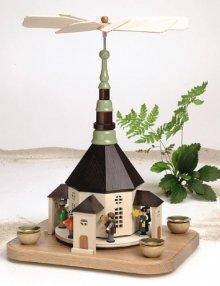 Pyramid Seiffen church with carolers and lantern children