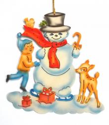 Window picture snowman with child and fawn, coloured
