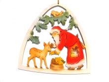 Window picture Santa Claus with deer, colored