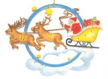 Window picture Santa Claus with reindeer sleigh, colored