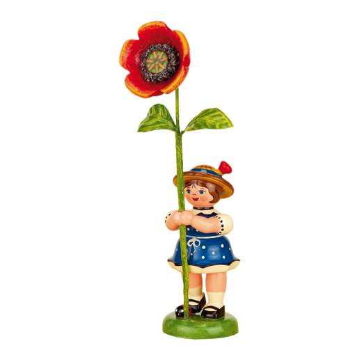 Flower Child Girl with Poppy