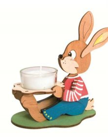 Craft set of tealight candle Easter bunny, sitting